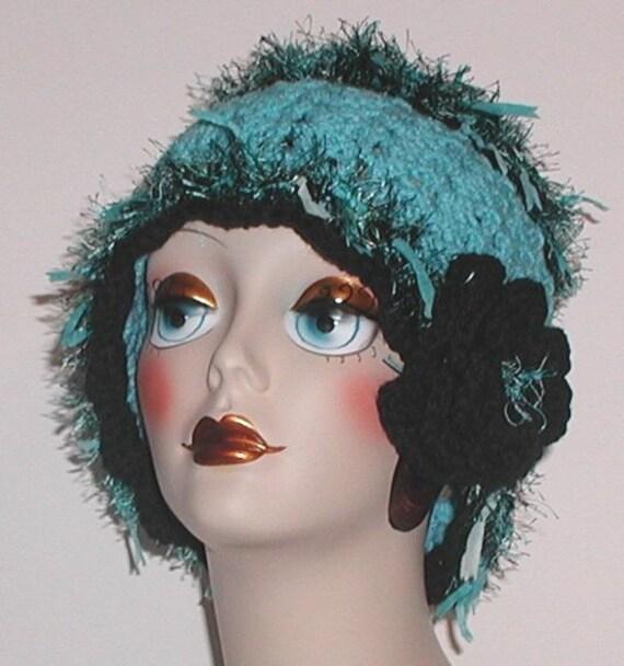 Turquoise Hat Flapper Cloche Black Crochet Flower Adult Women