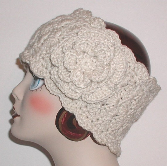 Cream Ski Band Headband Crochet Ear Warmer Flower Made In Usa