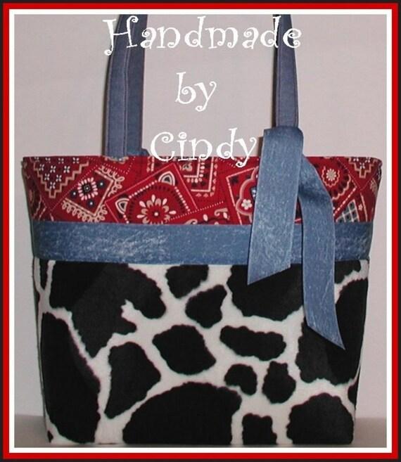 Red Cow Diaper Bag Tote Western Purse Bandana Black White Cosmetic Bag