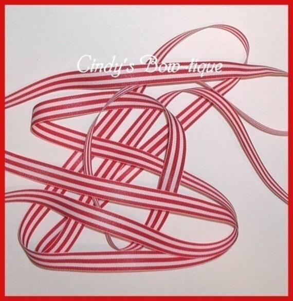 Red White Grosgrain Ribbon Stripes 6 yards 5/8 wide cbfiveeight