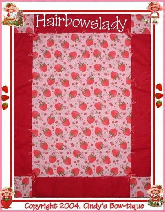 Pink Strawberry Shortcake Quilt Baby Girl Red Strawberries Lady Bugs Girls Bows