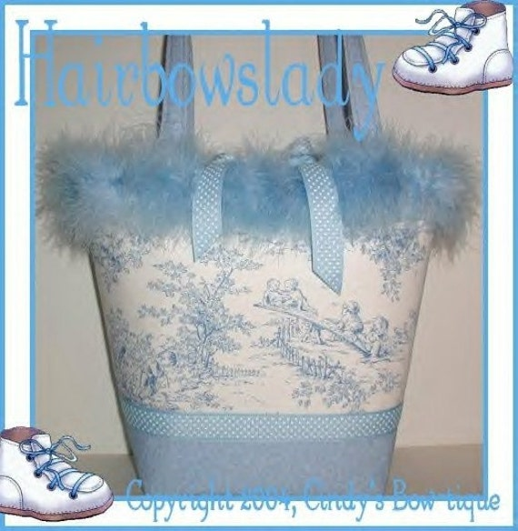 Blue Diaper Bag Tote Baby Boy Central Park Toile Handmade Made in USA