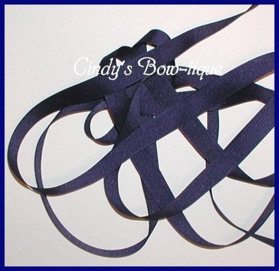 Navy Blue Ribbon Grosgrain 7 yards 5/8 inch wide Offray Made in USA cbfiveeight