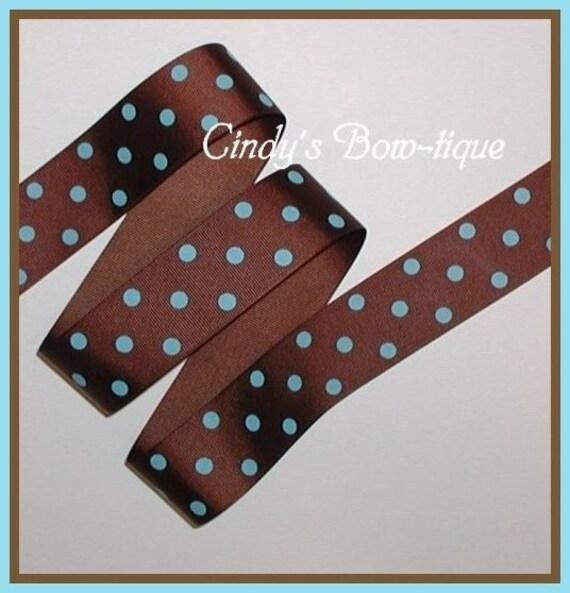 Brown Ribbon With Blue Polka Dots 30