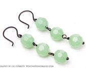 Peridot glass earrings