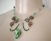 Seafoam and Silver Scrolls Necklace