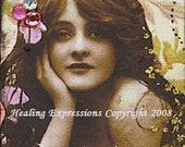 BREATHE vintage altered art collage hope therapy recovery ACEO ATc PRINT
