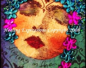 VISIONS IN NIGHT aceo atc print altered art card therapy recovery collage vintage woman face