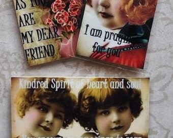 HEALING HOPE MAGNETS Set A set of four vintage collage girls inspirational gift