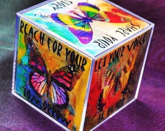 BUTTERFLY JOURNEY CUBE altered collage art therapy acrylic block square  inspirational hope