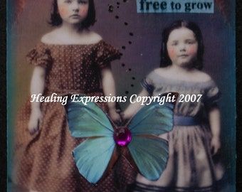 GARDEN OF FRIENDSHIP aceo atc print altered art card therapy recovery collage vintag girls butterfly