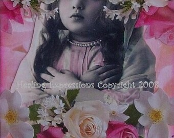 BREATH HOPE vintage collage recovery breast cancer inspirational child pink floral ATc PRiNT