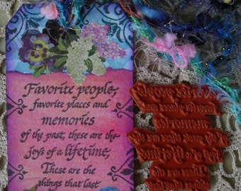 Favorite People Favorite Memories.....UNMOUNTED RUBBER STAMP altered collage art scrapbook mixed media