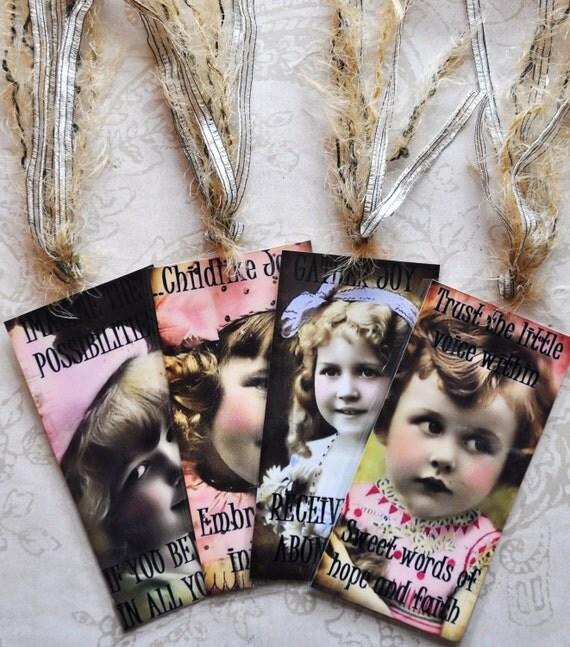 HEALING HOPE TAG Set B four vintage collage girls inspirational gift bookmark