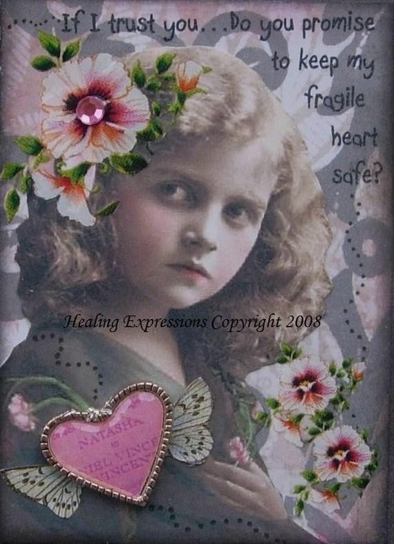 IF I TRUST YOU altered art collage therapy recovery abuse ACEO ATC PRINT