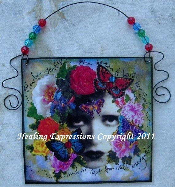 ALTERED ART COLLAGE She Began To Bear Her Soul  Beaded Wire Fairy Dangle Assemblage Healing recovery trauma ptsd