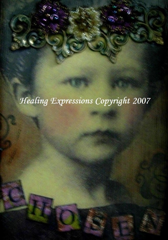CHOSEN aceo atc print altered art card therapy recovery collage christian crown vintage girl