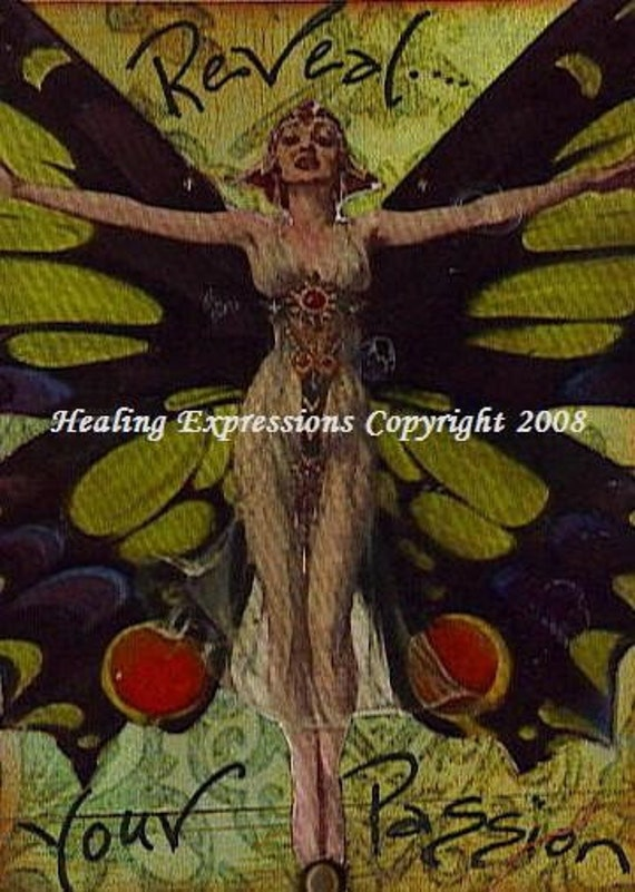 REVEAL YOUR PASSION altered art collage therapy recovery ACEO ATC PRINT