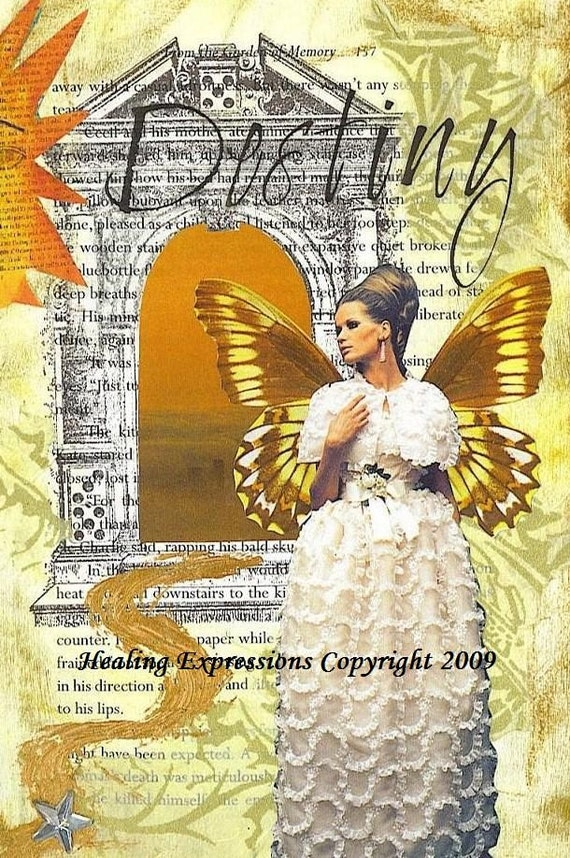 DESTINY altered art faith vintage oman wings butterfly passage doorway hope recovery collage atc aceo print