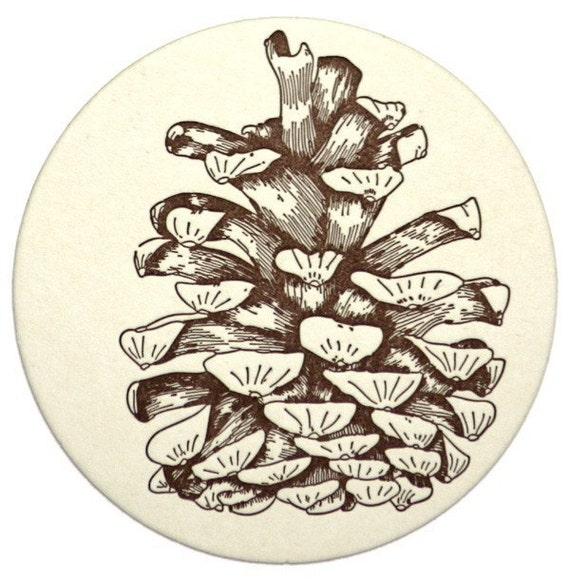 Pine Cone Coasters (Letterpress printed)