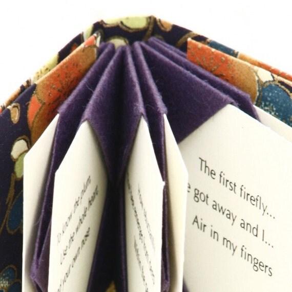 Mini book of Haiku, Mini Haiku, Artist Book in purple, Ready to Ship