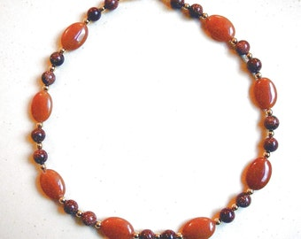 GOLDSTONE and CARNELIAN NECKLACE