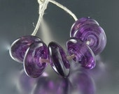 Purple Glass Lampwork disc beads by Vivian