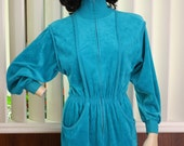 70s 80s Teal Velour Jumpsuit One Piece XS S