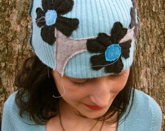 Teal and Grey Cashmere Blossoms Hat by devilmademedoit