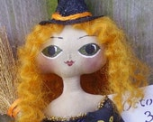 Primitive Witch Doll with Cat Folk Art Halloween