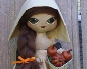 Primitive Harvest Folk Art Doll Autumn Pilgrim Girl