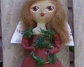Primitive Angel Doll Ornament Folk Art Christmas