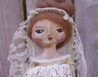 Primitive Folk Art Cloth and Clay Art Doll Quarterly