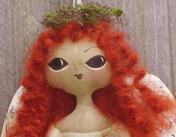 Primitive Autumn Folk Art Doll Harvest Angel
