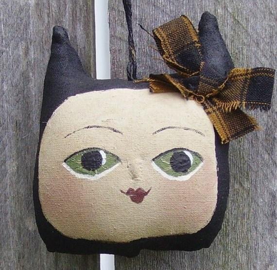 Primitive Folk Art Halloween Ornament  Kitty Face RESERVED FOR JANENE