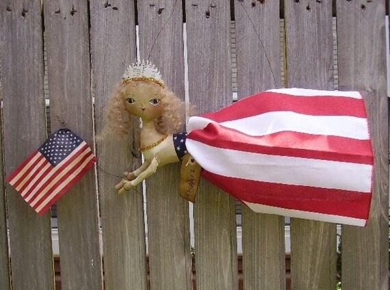 Americana Doll Primitive Patriotic Folk Art Liberty
