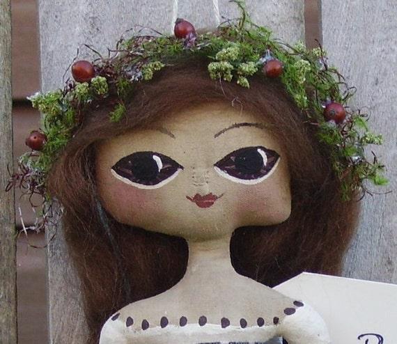 Primitive Doll Folk Art Prim Flower Girl Spring