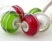 Lampwork Glass Beads GREEN RED CLEAR with fine silver wraps Handmade - taneres