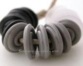 Spiral Wavy Disks Lampwork Glass Beads - TONELESS SET - black, grey and crystal matte - TANERES