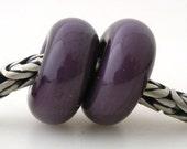 European Charm THAI ORCHID Purple Pair Handmade Lampwork Glass Bead TANERES
