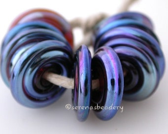 PSYCHE LUSTER Spiral Wavy Disks Lampwork Glass Beads TANERES purple blue metallic