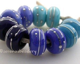 Buyer's Choice - BLUE with FINE SILVER - Handmade Lampwork Glass Beads - taneres - glossy or matte