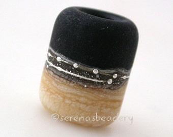 BLACK IVORY MATTE European Charm Handmade Lampwork Glass Bead - taneres