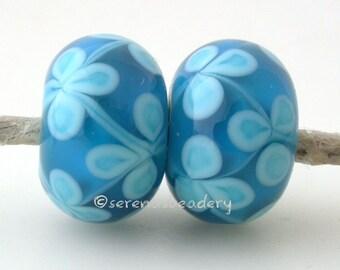 LIGHT TURQUOISE Capri Blue Flower Lampwork Glass Bead Pair - TANERES