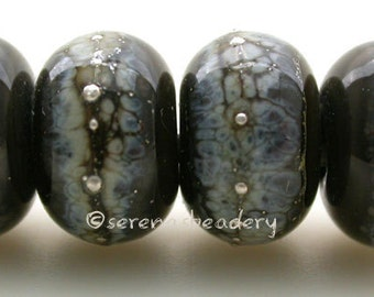 Lampwork Glass Bead Set BLACK GRANITE SILVERED Ivory and Fine Silver Handmade - taneres - glossy or matte