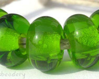 Lampwork Spacer Glass Beads 5 DARK GRASS GREEN Glossy & Matte Handmade Donut Rondelle sra