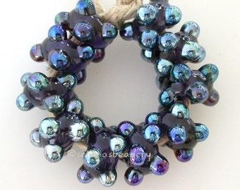 Lampwork Glass Bead REFLECTIVE LOVE Handmade Dots Set - taneres sra purple metallic luster