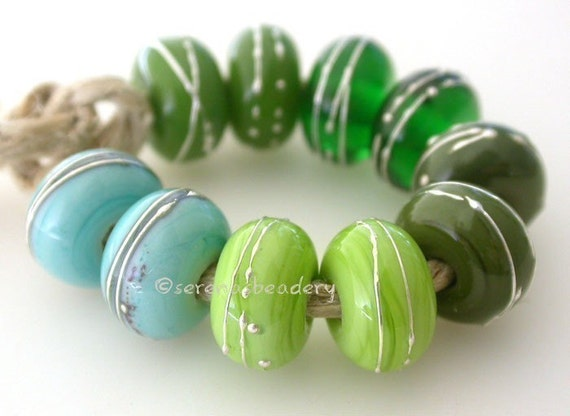 Artisan Lampwork Glass Beads Buyer's Choice - GREEN with FINE SILVER - Handmade  - taneres