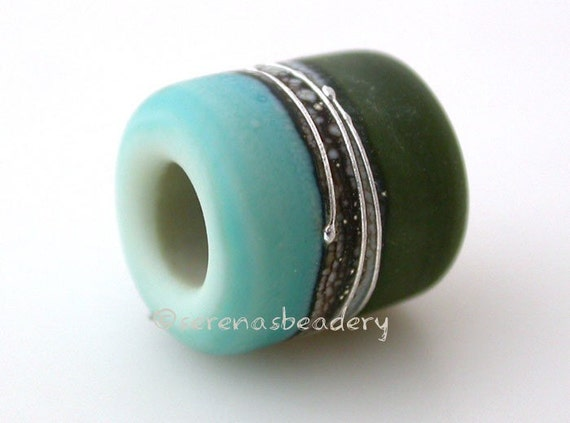 European Charm COPPER GREEN and OLIVE frosted matte Lampwork Glass Bead - taneres