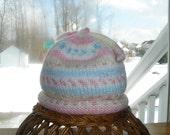 Baby Girl Hand Knit Twist Tie Hat